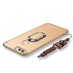 Custodia Lusso Metallo Laterale e Plastica Cover con Anello Supporto e Cordoncino per Huawei Nova 2 Oro