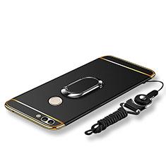 Custodia Lusso Metallo Laterale e Plastica Cover con Anello Supporto e Cordoncino per Huawei P Smart Nero