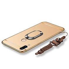 Custodia Lusso Metallo Laterale e Plastica Cover con Anello Supporto e Cordoncino per Huawei P20 Lite Oro