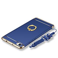 Custodia Lusso Metallo Laterale e Plastica Cover con Anello Supporto e Cordoncino per Huawei P8 Lite Blu