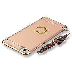 Custodia Lusso Metallo Laterale e Plastica Cover con Anello Supporto e Cordoncino per Huawei P8 Lite Oro