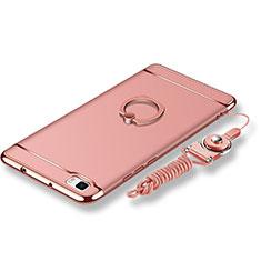 Custodia Lusso Metallo Laterale e Plastica Cover con Anello Supporto e Cordoncino per Huawei P8 Lite Oro Rosa