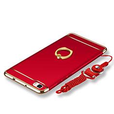 Custodia Lusso Metallo Laterale e Plastica Cover con Anello Supporto e Cordoncino per Huawei P8 Lite Rosso