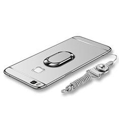 Custodia Lusso Metallo Laterale e Plastica Cover con Anello Supporto e Cordoncino per Huawei P9 Lite Argento