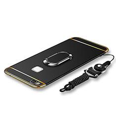 Custodia Lusso Metallo Laterale e Plastica Cover con Anello Supporto e Cordoncino per Huawei P9 Lite Nero