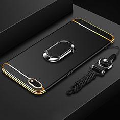 Custodia Lusso Metallo Laterale e Plastica Cover con Anello Supporto e Cordoncino per Huawei Y5 Prime (2018) Nero
