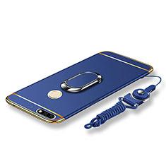 Custodia Lusso Metallo Laterale e Plastica Cover con Anello Supporto e Cordoncino per Huawei Y7 (2018) Blu