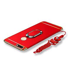 Custodia Lusso Metallo Laterale e Plastica Cover con Anello Supporto e Cordoncino per Huawei Y7 (2018) Rosso