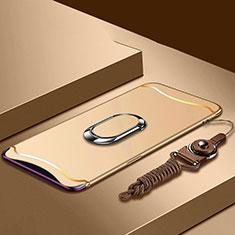 Custodia Lusso Metallo Laterale e Plastica Cover con Anello Supporto e Cordoncino per Oppo Find X Oro