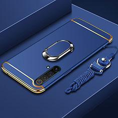 Custodia Lusso Metallo Laterale e Plastica Cover con Anello Supporto e Cordoncino per Realme X50 5G Blu
