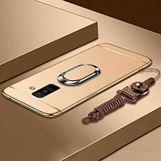 Custodia Lusso Metallo Laterale e Plastica Cover con Anello Supporto e Cordoncino per Samsung Galaxy A6 Plus Oro
