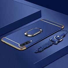 Custodia Lusso Metallo Laterale e Plastica Cover con Anello Supporto e Cordoncino per Samsung Galaxy A70 Blu