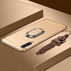 Custodia Lusso Metallo Laterale e Plastica Cover con Anello Supporto e Cordoncino per Samsung Galaxy A70 Oro