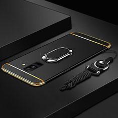 Custodia Lusso Metallo Laterale e Plastica Cover con Anello Supporto e Cordoncino per Samsung Galaxy A9 Star Lite Nero
