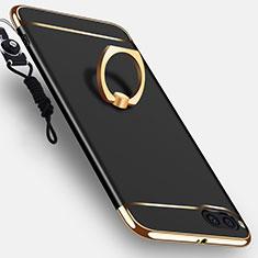 Custodia Lusso Metallo Laterale e Plastica Cover con Anello Supporto e Cordoncino per Xiaomi Mi Note 3 Nero