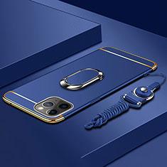 Custodia Lusso Metallo Laterale e Plastica Cover con Anello Supporto T01 per Apple iPhone 11 Pro Blu