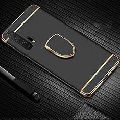 Custodia Lusso Metallo Laterale e Plastica Cover con Anello Supporto T01 per Huawei Honor 20 Pro Nero