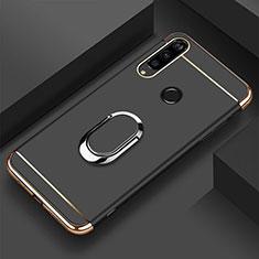 Custodia Lusso Metallo Laterale e Plastica Cover con Anello Supporto T01 per Huawei Honor 20i Nero