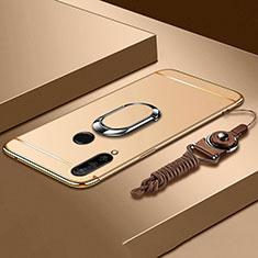 Custodia Lusso Metallo Laterale e Plastica Cover con Anello Supporto T01 per Huawei P30 Lite New Edition Oro