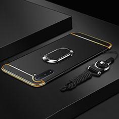 Custodia Lusso Metallo Laterale e Plastica Cover con Anello Supporto T01 per Samsung Galaxy Note 10 5G Nero
