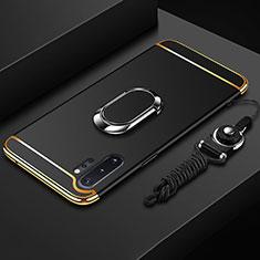 Custodia Lusso Metallo Laterale e Plastica Cover con Anello Supporto T01 per Samsung Galaxy Note 10 Plus 5G Nero