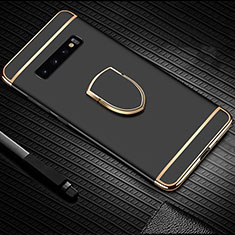 Custodia Lusso Metallo Laterale e Plastica Cover con Anello Supporto T01 per Samsung Galaxy S10 Nero