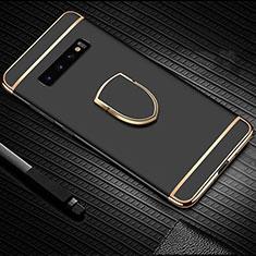 Custodia Lusso Metallo Laterale e Plastica Cover con Anello Supporto T01 per Samsung Galaxy S10 Plus Nero