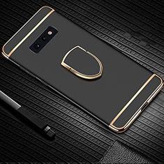 Custodia Lusso Metallo Laterale e Plastica Cover con Anello Supporto T01 per Samsung Galaxy S10e Nero