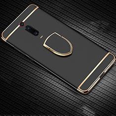 Custodia Lusso Metallo Laterale e Plastica Cover con Anello Supporto T01 per Xiaomi Mi 9T Pro Nero