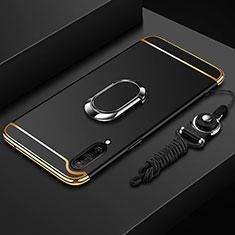 Custodia Lusso Metallo Laterale e Plastica Cover con Anello Supporto T01 per Xiaomi Mi A3 Nero