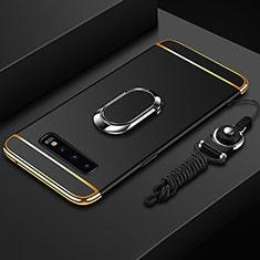 Custodia Lusso Metallo Laterale e Plastica Cover con Anello Supporto T02 per Samsung Galaxy S10 Nero