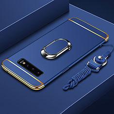 Custodia Lusso Metallo Laterale e Plastica Cover con Anello Supporto T02 per Samsung Galaxy S10 Plus Blu