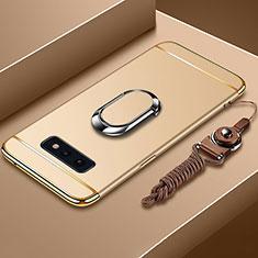 Custodia Lusso Metallo Laterale e Plastica Cover con Anello Supporto T02 per Samsung Galaxy S10e Oro