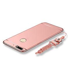 Custodia Lusso Metallo Laterale e Plastica Cover con Cordoncino per Huawei Enjoy 8 Oro Rosa