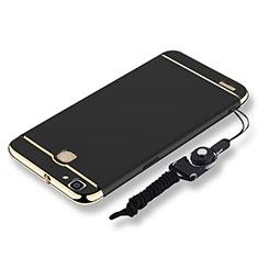 Custodia Lusso Metallo Laterale e Plastica Cover con Cordoncino per Huawei G8 Mini Nero