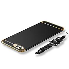 Custodia Lusso Metallo Laterale e Plastica Cover con Cordoncino per Huawei Honor V10 Nero