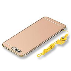 Custodia Lusso Metallo Laterale e Plastica Cover con Cordoncino per Huawei Nova 2S Oro