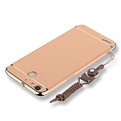 Custodia Lusso Metallo Laterale e Plastica Cover con Cordoncino per Huawei P8 Lite Smart Oro