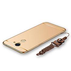 Custodia Lusso Metallo Laterale e Plastica Cover con Cordoncino per Huawei Y7 Prime Oro