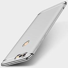 Custodia Lusso Metallo Laterale e Plastica Cover M01 per Huawei Enjoy 7S Argento