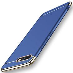 Custodia Lusso Metallo Laterale e Plastica Cover M01 per Huawei Honor V10 Blu