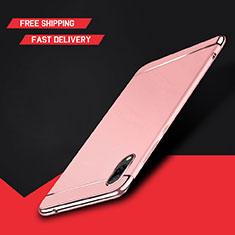 Custodia Lusso Metallo Laterale e Plastica Cover M01 per Huawei Y7 Prime (2019) Oro Rosa