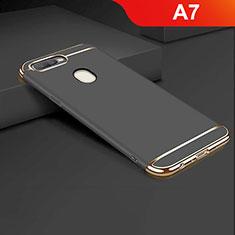 Custodia Lusso Metallo Laterale e Plastica Cover M01 per Oppo A7 Nero