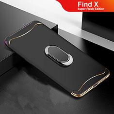 Custodia Lusso Metallo Laterale e Plastica Cover M01 per Oppo Find X Super Flash Edition Nero