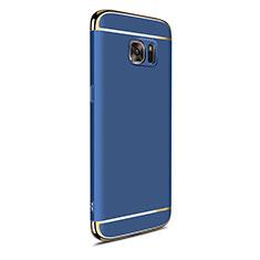 Custodia Lusso Metallo Laterale e Plastica Cover M05 per Samsung Galaxy S7 Edge G935F Blu