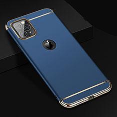 Custodia Lusso Metallo Laterale e Plastica Cover T01 per Apple iPhone 11 Pro Max Blu