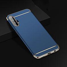 Custodia Lusso Metallo Laterale e Plastica Cover T01 per Huawei Honor 20 Pro Blu