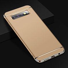 Custodia Lusso Metallo Laterale e Plastica Cover T01 per Samsung Galaxy S10 Plus Oro