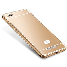 Custodia Lusso Metallo Laterale e Silicone Cover M01 per Xiaomi Mi 4i Oro