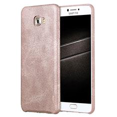 Custodia Lusso Pelle Cover L01 per Samsung Galaxy C7 Pro C7010 Oro Rosa